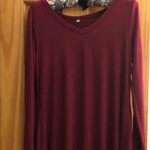 Dresses & Skirts - BOUTIQUE V-NECK LONG SLEEVE COTTON DRESS W/POCKETS